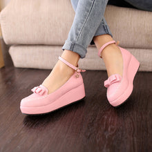 Load image into Gallery viewer, Ankle Straps Bow Women Wedges Platform Shoes 8700