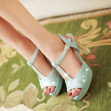 Load image into Gallery viewer, Platform Sandals Rhinestone T Straps Women Pumps High Heels Bridal Shoes Woman 3548