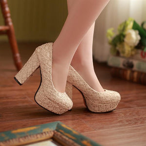Lace Round Toe Women Platform Chunky Heel Pumps High Heels Shoes Woman