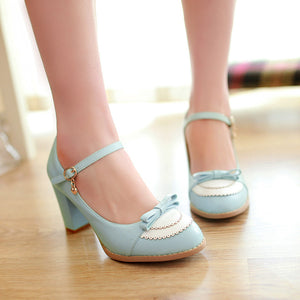 Ankle Straps Bow Women Pumps High Heels Platform Shoes 3059