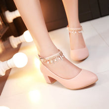Load image into Gallery viewer, Round Toe Womens High Heel Shoes Ankle Straps Pumps Chains Dress Shoes
