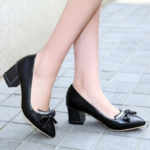 Load image into Gallery viewer, Knot Women Pumps Rhinestone High Heels Thick Heeled Shoes Woman
