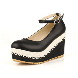 Ankle Straps Women Wedges High Heels Platform Shoes 8511