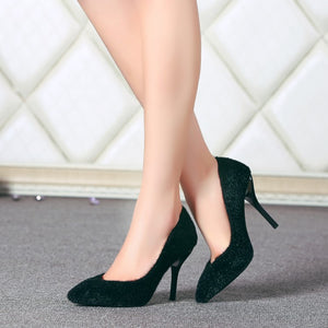 Pointed Toe Horse Hair Women Pumps Stiletto High Heels Shoes Woman