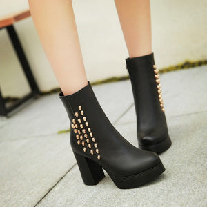 Skull Ankle Boots High Heels Women Shoes Fall|Winter 8946