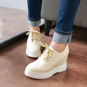 Lace Up Women Wedges High Heel Platform Shoes
