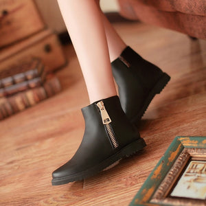 Women Ankle Boots Pu Leather Zipper Shoes Woman 2016 3588