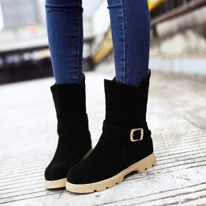 Round Toe Ankle Boots Artificial Suede Buckle Shoes Woman 3327
