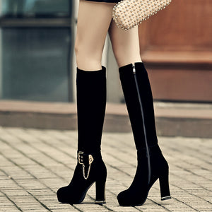 Fashion Women Knee High Boots for Autumn and Winter New Arrive Chains Buckle 7954