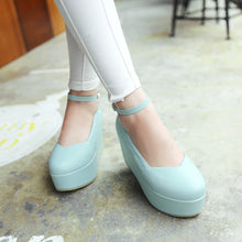 Load image into Gallery viewer, Ankle Straps Platform Shoes High Heels Women Wedges 4682