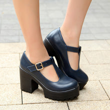 Load image into Gallery viewer, T Strap High Heels Women Platform Pumps Chunky Heel 9571