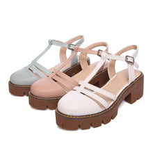 Load image into Gallery viewer, T Straps Buckle Sandals Women Pumps Platform High-heeled Shoes Woman