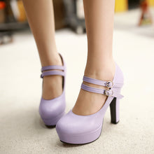 Load image into Gallery viewer, Ankle Straps Pumps Platform High Heels Women Shoes 9351