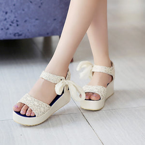 Lace Platform Sandals Women Pumps Wedges Shoes Woman 3446