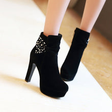 Load image into Gallery viewer, Rhinestone and Bow Ankle Boots High Heels Women Shoes Fall|Winter