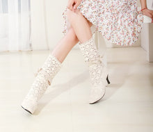 Load image into Gallery viewer, Pointed Toe Cutout Crochet Bow High Heels Summer Boots Spike Heel 2318