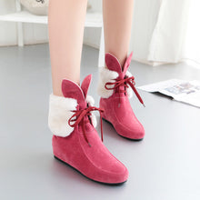 Load image into Gallery viewer, Women Ankle Boots Rabbit Ear Leopard Print Wedges Shoes Woman 2016 3558