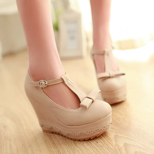 Women Wedges T Straps Bowtie Pumps Platform Shoes 3428