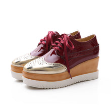 Load image into Gallery viewer, Patent Leather Lace Up Oxfords Platform Wedge Shoes 4050