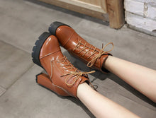 Load image into Gallery viewer, Ankle Boots for Women Platform High Heels Lace Up Pu Leather Autumn Winter Shoes Woman 9592