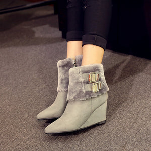 Pointed Toe Ankle Boots Wedges Shoes Fall|Winter 6270