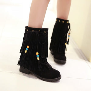 Tassel Ankle Boots Artificial Suede Wedges Shoes Woman 3300 3300