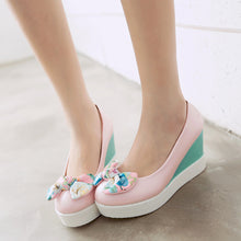 Load image into Gallery viewer, Flower Bow Women Wedges Platform Shoes Plus Size