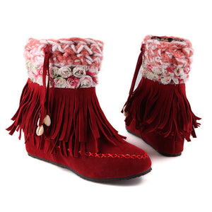 Women Tassel Flower Wedges Ankle Boots Artificial Suede Shoes Woman 2016 3503