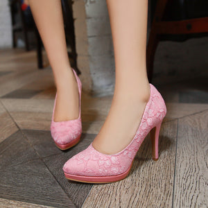 Flower Lace Pumps Platform High Heels Fashion Women Shoes 3520