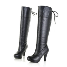 Load image into Gallery viewer, Back Lace Up High Heels Knee High Boots Spike Heel 2742