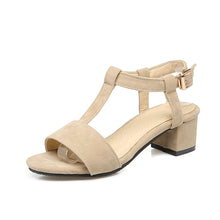 Load image into Gallery viewer, T Straps Faux Suede Chunky Sandals 9328