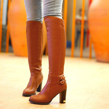 Load image into Gallery viewer, Women Pu Leather Buckle Over the Knee Boots High Heels 7285