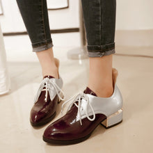 Load image into Gallery viewer, Pointed Toe Women Pumps Mixed Color High Heels Lace Up Shoes Woman