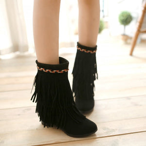 Tassel Wedges Boots Round Toe Platform Shoes Woman
