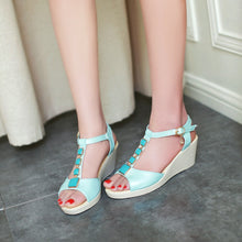 Load image into Gallery viewer, Peep Toes T Straps Platform Sandals Women Wedges Platform Shoes Woman