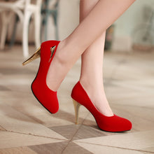 Load image into Gallery viewer, Metal Pumps High Heels Platform Pointed Toe Spike Shoes Woman