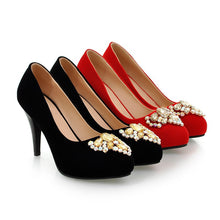 Load image into Gallery viewer, Rhinestone Women Pumps High Heels Spike Wedding Shoes Woman