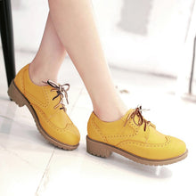 Load image into Gallery viewer, Round Toe Lace Up Women Chunky Heel Oxfords Shoes 3798