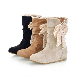 Bowtie Wedges Boots Round Toe Artificial Suede Shoes Woman 3337