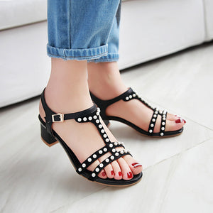 Pearl Sandals Pumps Genuine Leather High-heeled Shoes Woman