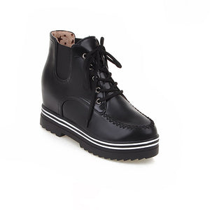 Ankle Boots for Women Platform Wedges Lace Up Pu Leather Autumn Winter Shoes Woman 2133