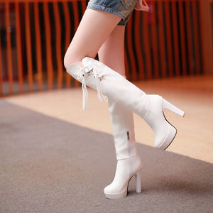 Women Knee High Boots Platform Buckle Tassel High Heels Thick Heeled Shoes Woman 2016 3506