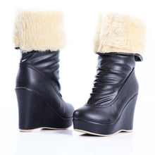 Load image into Gallery viewer, Women Snow Boots Platform Wedges Fur Inside Winter Mid Calf Boots Shoes Woman 2016 3523