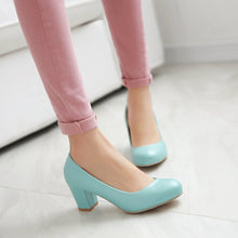 Load image into Gallery viewer, Women Chunky Heel Pumps High Heels Dress Shoes Plus Size