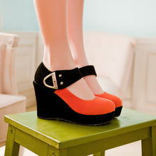 Load image into Gallery viewer, Women Wedges Mixed Colors Ankle Straps High Heels Platform Shoes 3528