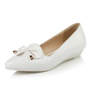 Women Flats Knot Wedges Pointed Toe Jelly Shoes Woman 3434