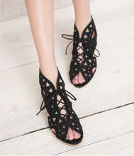 Load image into Gallery viewer, Peep Toe Gladiator Sandals Wedges Heel 6257