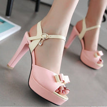 Load image into Gallery viewer, Bowtie Platform Sandals Women Pumps Ankle Straps High Heels Shoes Woman