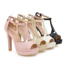 Load image into Gallery viewer, Women Sandals T Straps Cutout Pumps Platform High-heeled Shoes