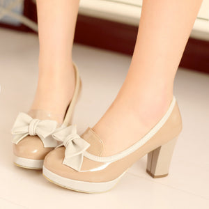 Bow Women Chunky Heel Pumps Platform Dress Shoes High Heels  9731
